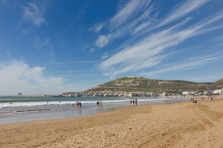 Agadir Beach, hill with the words, Allah, al-Watan, al-Malik, meaning Allah, the Homeland, the King, Morocco, Africa