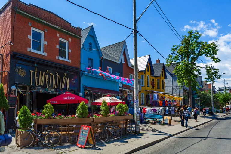 Shops and bars on Kensington Avenue in the Kensington Market district, Toronto, Ontario, Canada