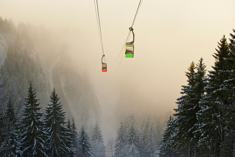 Landscape with cable railway in Winter, Schauinslandbahn, Black Forest, Baden-Wuerttemberg, Germany, Europe