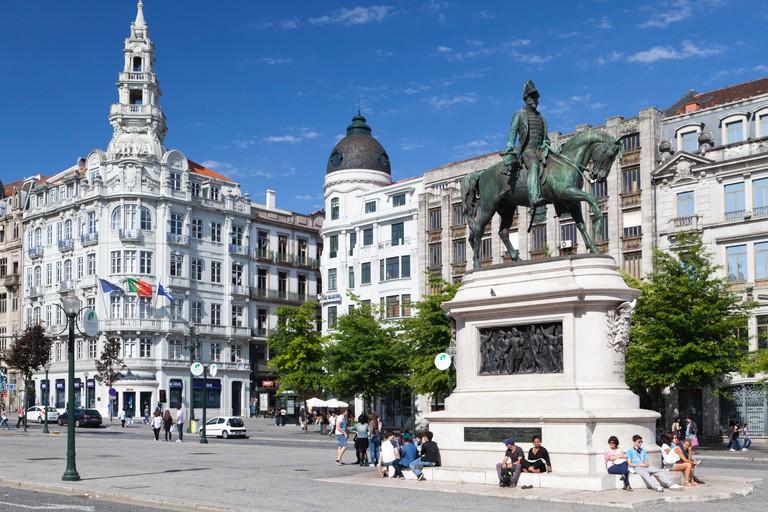 The Avenida dos Aliados and equestrian statue of Dom Pedro IV in the Baixa (City centre) of Porto (Oporto), Portugal
