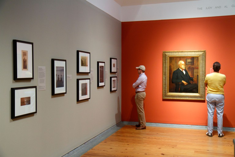 Maine, Northeast, New England, Portland, Congress Square, Portland Museum of Art, man men male adult adults, looking at, collection, painting, framed,