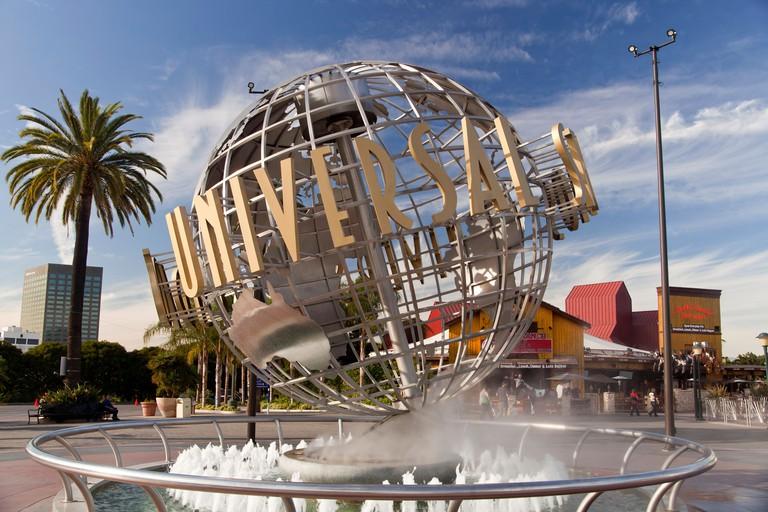 Universal Globe at the entrance to Universal Studios Hollywood, Universal City, Los Angeles, California, USA