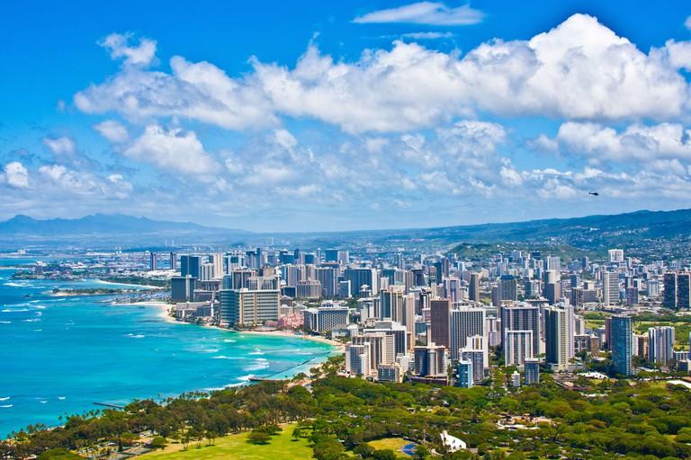 Beautiful Skyline of Honolulu,Hawaii