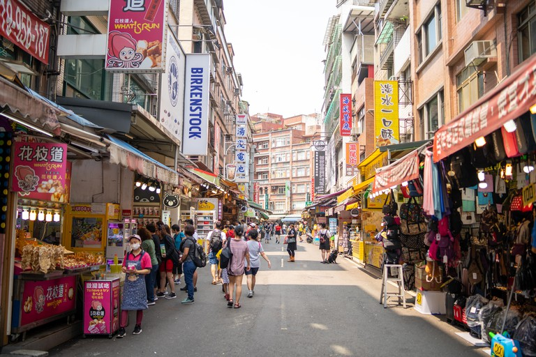 Taipei, Taiwan: Tamsui old street - a city district in the outskirts of Taipei is a popular spot for tourists and a great shopping destination