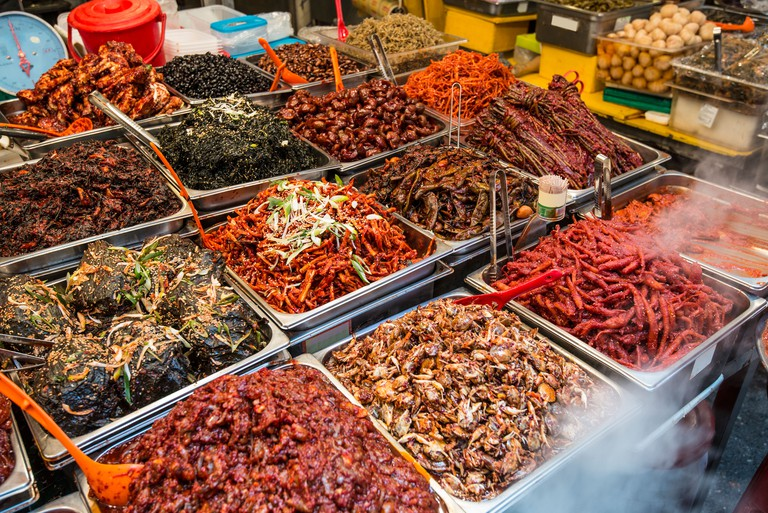 Food on display at Gwangjang Market in Seoul, South Korea.