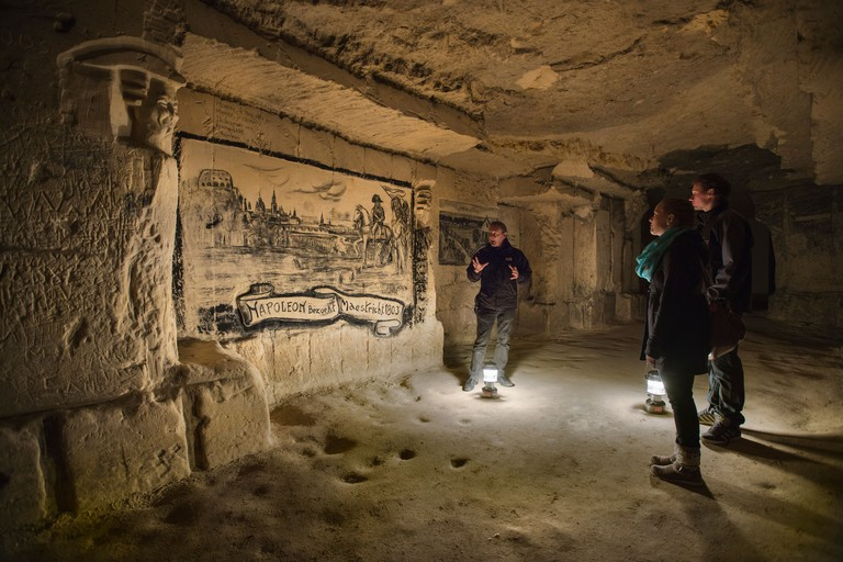 Netherlands, Maastricht, Charcoal drawing in caves of Sint Pietersberg. Guided tour