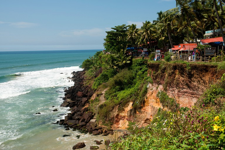 View from the cliff looking north. Varkala, Kerala, India