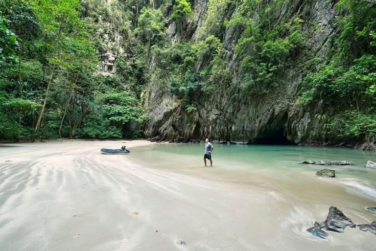 The hidden Emerald Cave (Tham Morakot) on Koh Mook island in Thailand