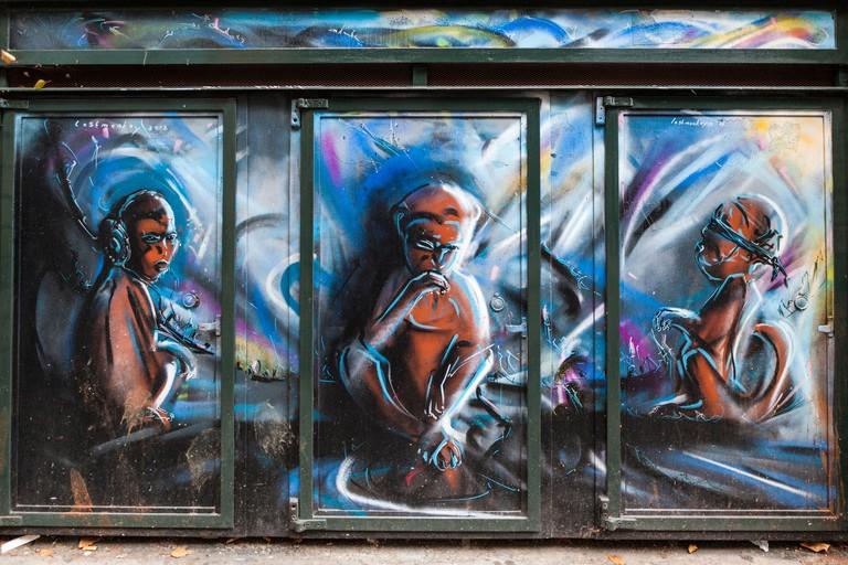 DNGXG3Street art, Lostmonkey 2013 - hear no evil, speak no evil, see no evil in Heneage street, off Brick Lane, Spitalfields, London