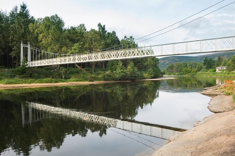 Cambus o' May bridge - Victorian suspension bridge over the River Dee, near Ballater, Aberdeenshire. DPA7GT