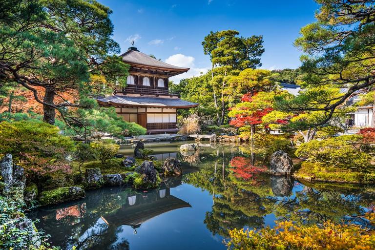 Ginkaku-ji Silver Pavilion during the autumn season in Kyoto, Japan.
