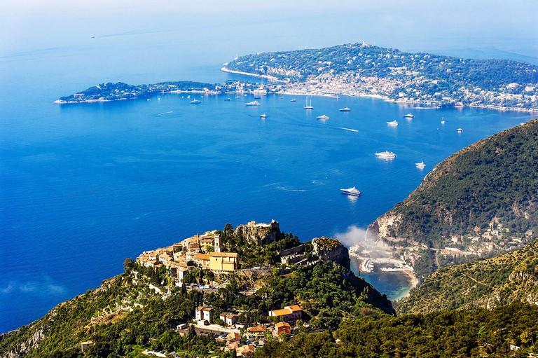 Europe, France, Alpes-Maritimes. The famous perched village of Eze and Saint-Jean-Cap-Ferrat.