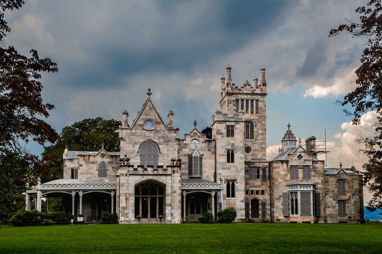 Lyndhurst on Hudson River, finest gothic castle in USA, built for Jay Gould, Tarrytown, Westchester County, New York State.