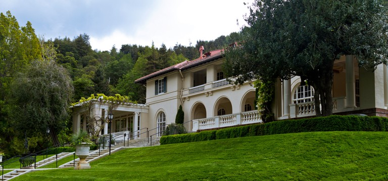 A view of the front entrance to the Montalvo Art Center in Saratoga, California.