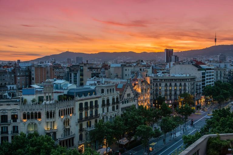 Top view at sunset over Passeig de Gracia with Casa Battlo and Casa Amatller, Barcelona, Catalonia, Spain