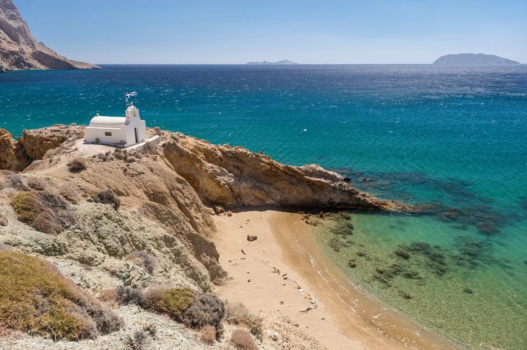 Greece Cyclades Islands Anafi Island Agii Anargyri beach and church