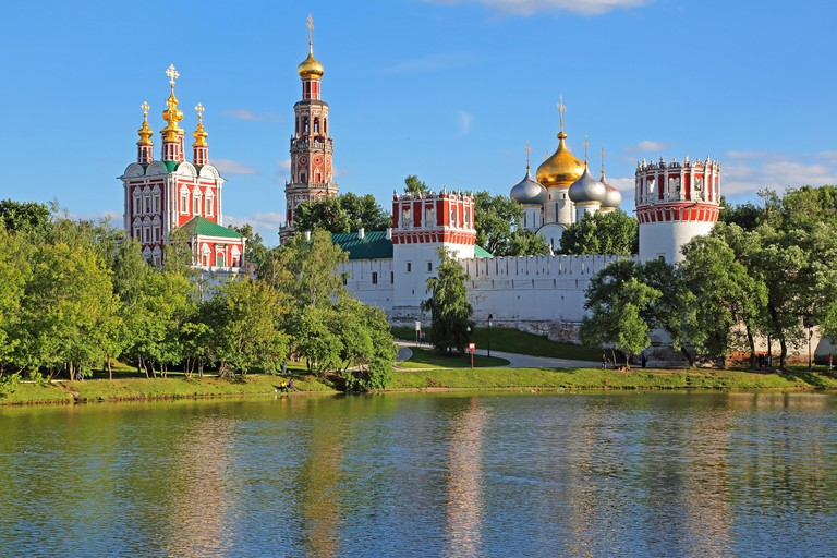 Novodevichy Convent view  from pond. Moscow, Russia.