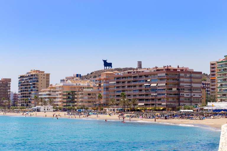 Beach and seafront, Fuengirola, Costa del Sol, Spain
