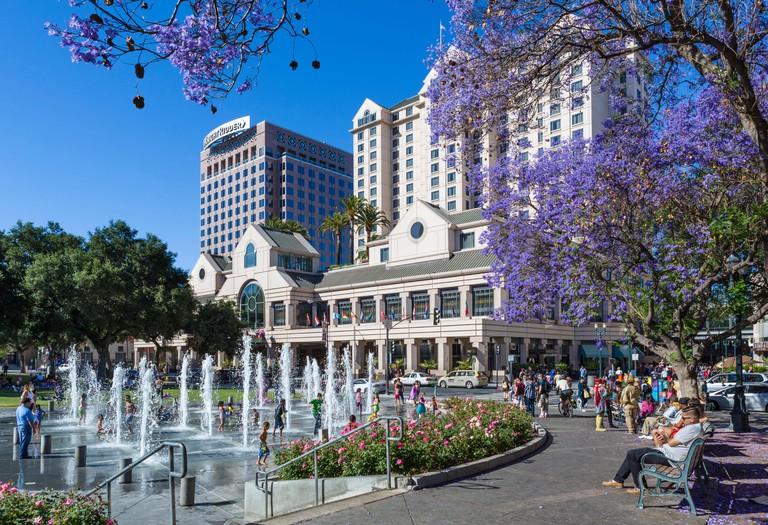 Plaza de Cesar Chavez in downtown San Jose, Santa Clara County, California, USA