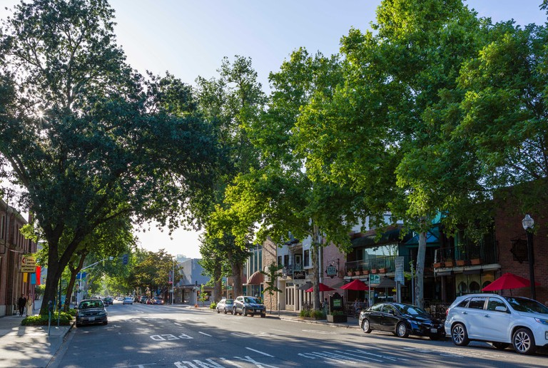 J Street at 21st Street in Midtown Sacramento, California, USA