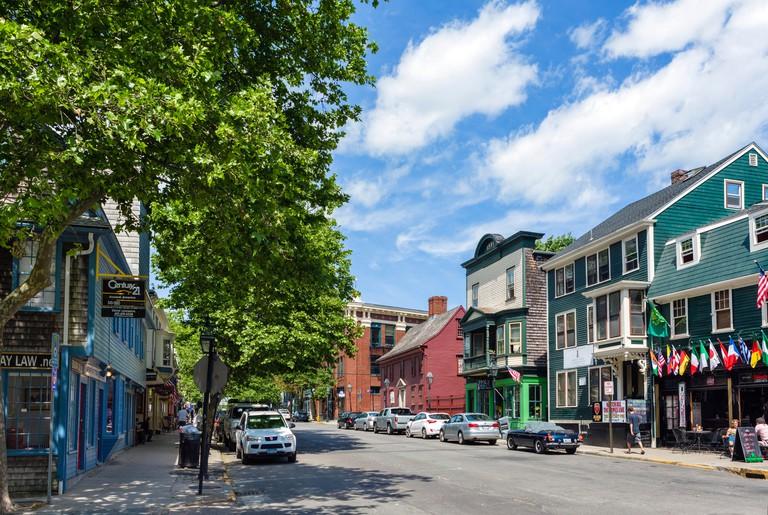 Broadway in downtown Newport, Rhode Island, USA
