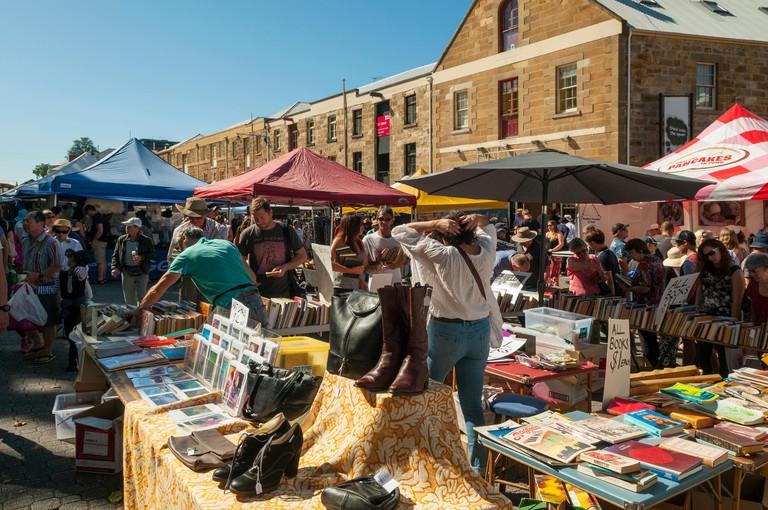 Busy Salamanca Market, Hobart, Tasmania, Australia