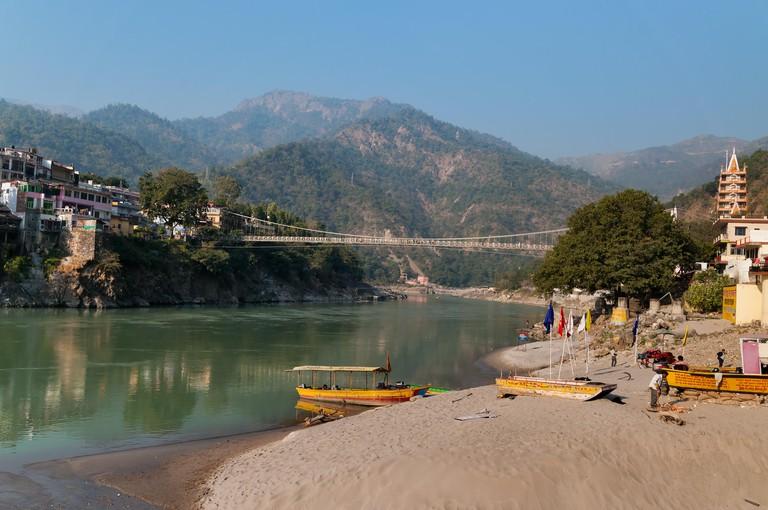Laxman Jhula bridge over Ganges river.  Rishikesh