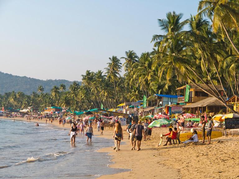 People on Palolem beach in Goa India