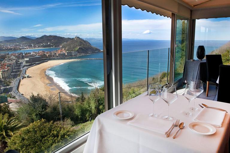 San Sebastian,Spain: restaurant Mirador de Ulia. Image shot 03/2013. Exact date unknown.