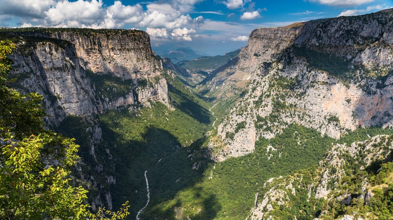 Vikos Gorge in Vikos-Aoos National Park in Zagoria, Greece seen from the Beloi viewpoint near