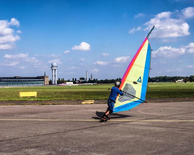 Berlin Tempelhof Airport, Flughafen. land sailing, terrasailing on old runway at Tempelhofer feld public park and leisure area