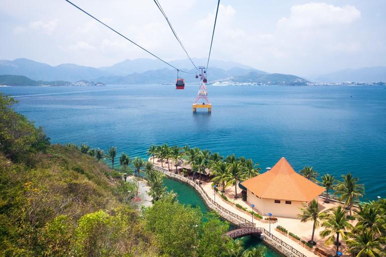Nha Trang cable car over sea leading to Vinpearl amusement park, Nha Trang, Vietnam.