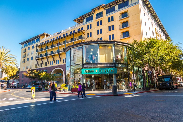 San Jose's Santana Row Shopping Mall where there are over 70 Shops 20 Restaurants and 9 spas. Urban Outfitters store