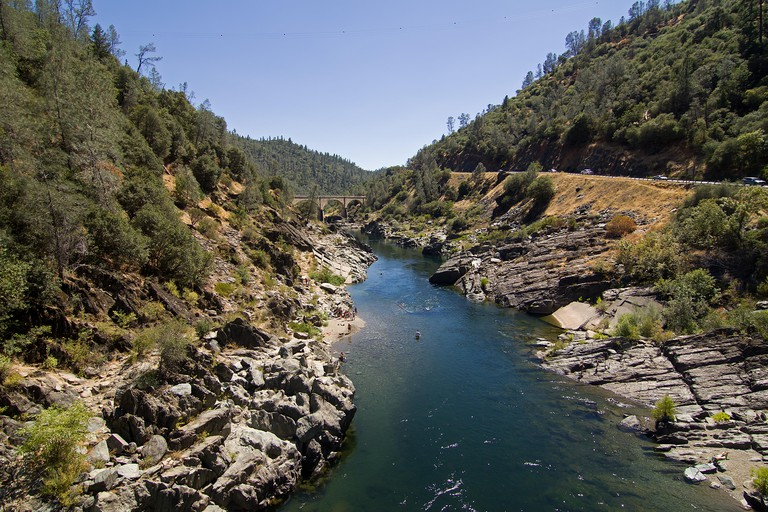 A view of the American River in Sacramento, California showing the severe drought levels.