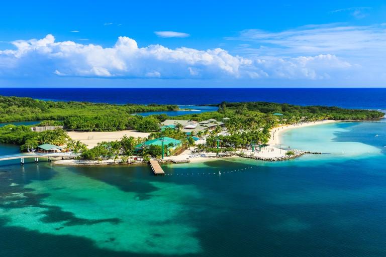 Roatan Island, Honduras. Panoramic view of the island.