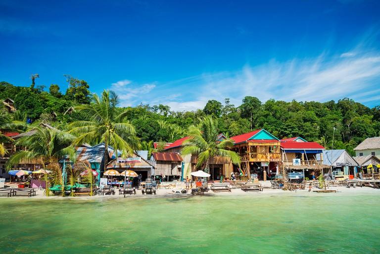 koh rong paradise island main village in cambodia