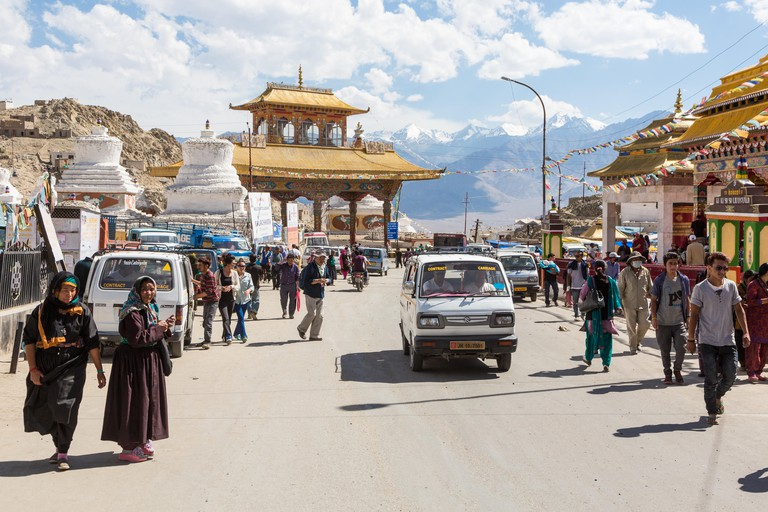 The streets of Leh in Ladakh in India Jammu & Kashmir state.