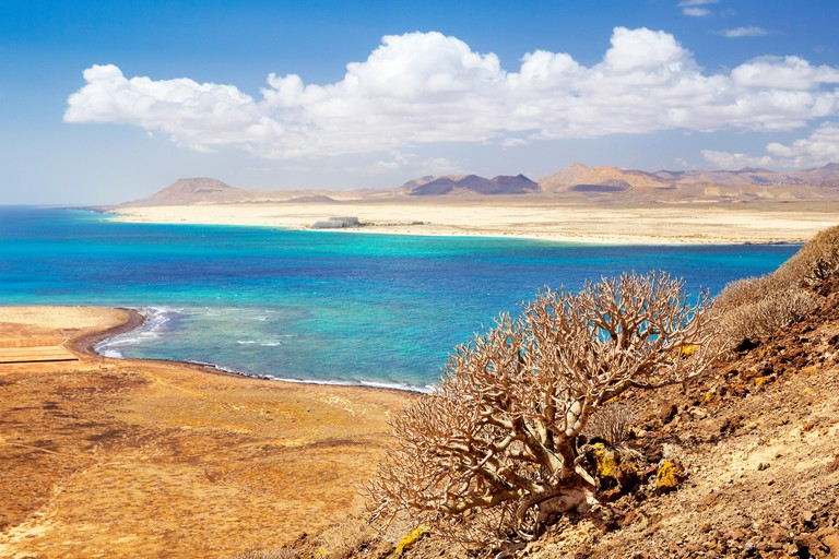 Landscape view from Lobos Island to the Fuerteventura Island, Canary Islands, Spain