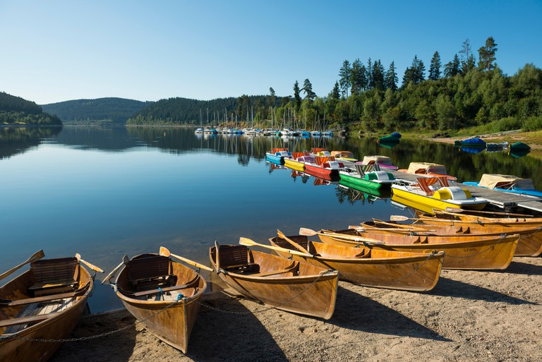 Morning atmosphere with rowboats, Schluchsee lake, Black Forest, Baden-Wurttemberg, Germany