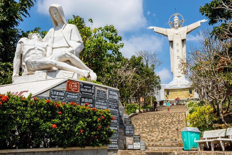 The statue of Christ of Vung Tau at Tuong Thanh Gioc overlooks the city of Vung Tau in Vietnam and is 32 metres high.