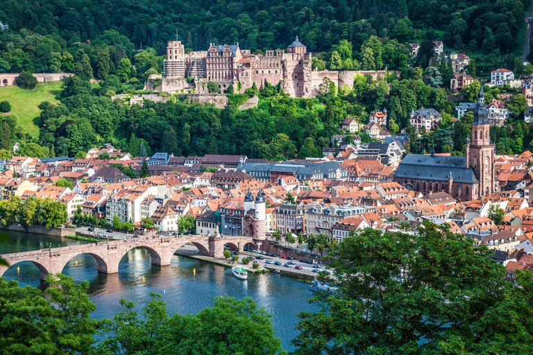 View over Heidelberg old town, the castle, church and bridge.