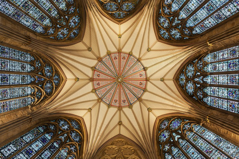 Architectural detail of York Minster ceiling; York, Yorkshire, England