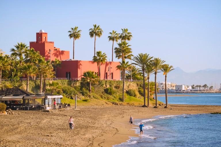 Benalmadena-Costa, Costa del Sol, Malaga Province, Andalusia, southern Spain.  Castillo Bil-Bil.  Winter.  Blue sky.