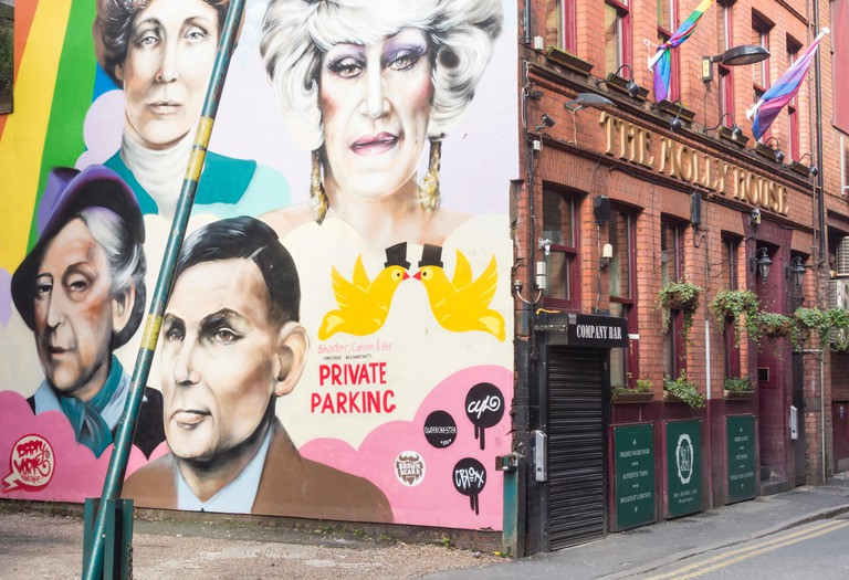 Wall mural on The Molly House tea room and bar on Richmond street in Manchester`s Gay village. Manchester, England, UK