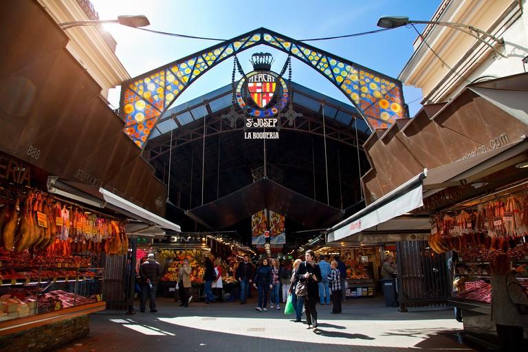 Spain, Catalonia, Barcelona, entrance of Boqueria market