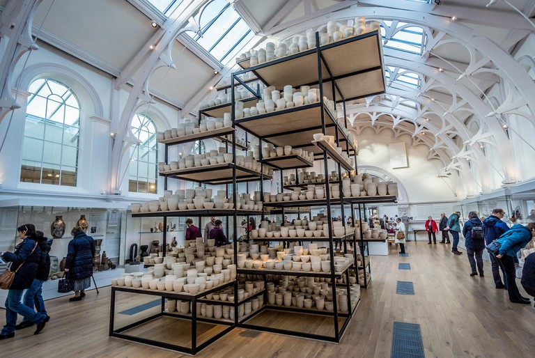 Manifest: 10,000 hours comprises ten thousand slip-cast ceramic bowls ? Installation at York Art Gallery by Clare Twomey?s. York