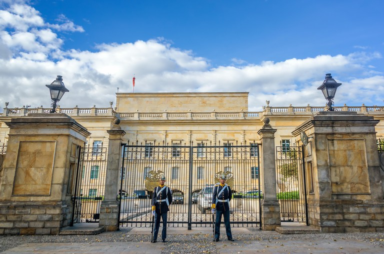 BOGOTA, COLOMBIA - APRIL 21: Guards stand in front of the presidential palace, known as the Casa de Narino, in Bogota, Colombia