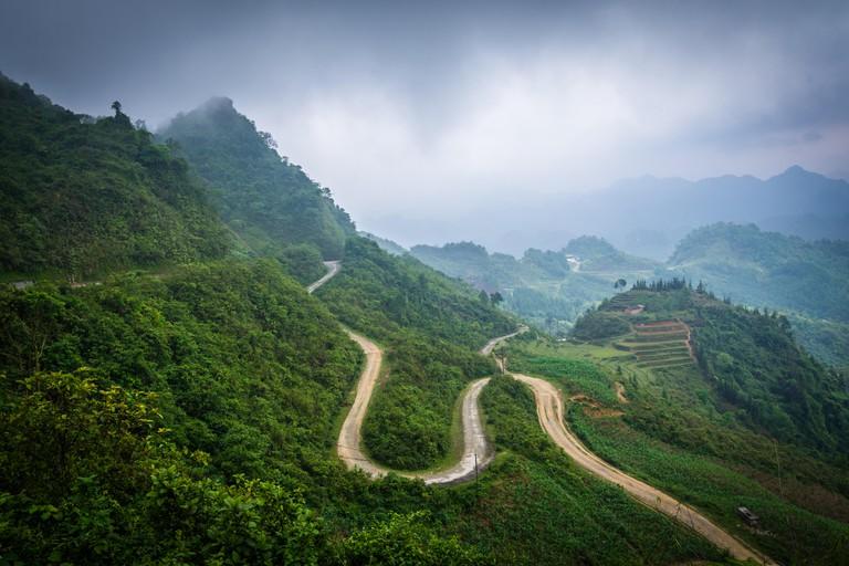 Winding mountain road of Ha Giang Province, Vietnam.