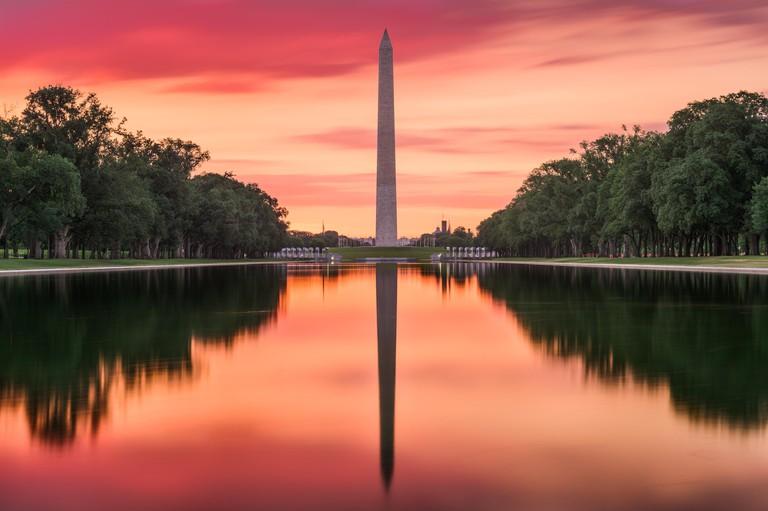 Washington DC at the Reflecting Pool and Washington Monument.