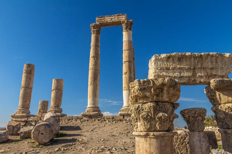 Hercules temple ruins in Amman Jordan